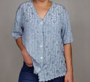 CP Shades Scalloped Floral Blouse Large